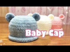 新生児ベビーキャップの編み方【かぎ針】可愛い赤ちゃんへニット帽の贈り物♡ - YouTube