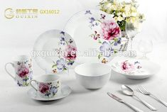 GUIXIN 20-piece Romantic Memory Round Porcelain Dinner Plate with Flower Printing