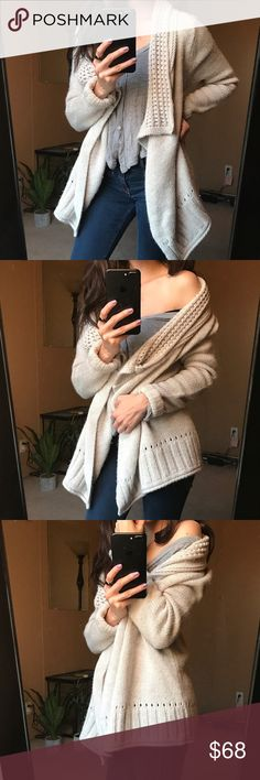 Neutral Beige • Beige and very flattering in the body the design is effortless and very romantic. Soft & Endlessly cozy. 🌿 not Free People. Free People Sweaters Cardigans
