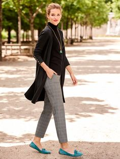 Step into fall wearing a look that is equal parts stylish and sophisticated. The Ribbed Duster Cardigan pairs perfectly with a turtleneck and chinos. Keep the look chic with simple accessories and colorful flats | Talbots