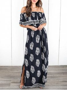 Escape to the Mediterranean in this adorable maxi dress! Our Aegean Strapless Maxi Dress is adorable in navy with a taupe and cream print throughout. Cheap Maxi Dresses, Long Summer Dresses, Dresses For Sale, Cute Dresses, Casual Dresses, Floral Dresses, Party Dresses, Summer Outfits, Maxis