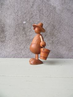 Vintage Scandinavian Wood Teak Farmer Figurine Hans Bolling Era Mid Century…