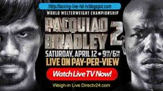 ~~~~~ Boxing Live Schedule: ~~~~~  UPCOMING INFO: Manny Pacquiao Vs Timothy Bradley live. COMPETITION NAME: Pacquiao's WBO welterweight title (12 rounds). COMPETITOR: Manny Pacquiao Vs Timothy Bradley VENUE: MGM Grand, Las Vegas, Nevada, United States. TIME:Saturday, April 12, 2014 STATUS: Live.