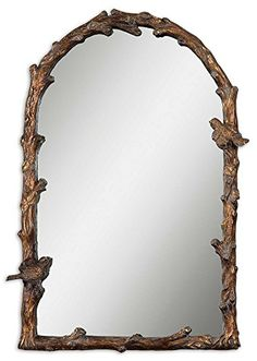 """pin it for later. Read more on french country bathroom accessories. Large BIRD BRANCH Plaza Arch 37"""" Wall Mirror Vanity Mantel. Delicate little birds perch on the frame of this arched mirror, which is designed to resemble natural tree branches. Its high quality frame is beautifully detailed and elegant yet slightly whimsical, and it is finished in hand painted antiqued gold leaf with a gray gl... #frenchcountrybathroomaccessories"""