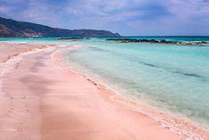 A day at the lovely pink Elafonisi beach in Crete, Greece Mykonos Greece, Crete Greece, Athens Greece, Santorini, Pink Beach, Beach Fun, Greek Isles, Hidden Beach, Greece Islands