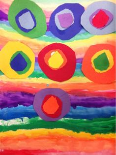 I finished my rainbow unit with my 1st graders with a watercolor collage based on Kandinsky's circle painting. For the most part, it appears...
