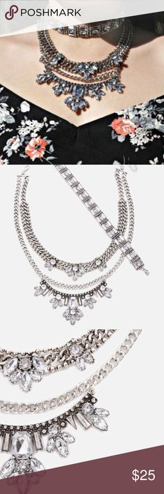 """DIAMOND CRYSTAL FESTIVAL LAYER STATEMENT NECKLACE New! Just Fab. 2 necklaces to wear with eachother or separately. Make a statement with this larger than life chain necklace featuring a multi-tier design and rhinestone accents. Approx. Length: 11.5"""" - 16"""" Approx. Width: 0.5"""" Approx. Drop: 6.5"""" ( not zara) tags- forever21 chokers public desire simmi MISSGUIDED Zara Jewelry Necklaces"""