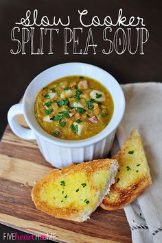 Slow Cooker Split Pea Soup ~ your crock pot does all the work for this warm and comforting soup, made hearty (but not heavy) by the addition of diced ham, potatoes, and carrots | FiveHeartHome.com