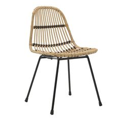 Rattan chair with metal legs in black / beige color. Dimension: Modern and minimal, this furniture is a perfect addition to any home. Outdoor Chairs, Dining Chairs, Outdoor Furniture, Outdoor Decor, Shabby Chic Style, Beige Color, Rattan, Home Decor, Metallic