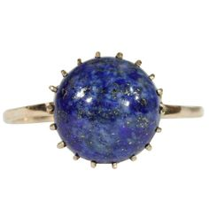 Vintage Russian Lapis Lazuli and Gold Ring, 1950s, 14k