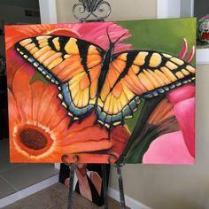 """Butterfly 30"""" x 40"""" oil painting #OilPaintingButterfly #OilPaintingNature"""