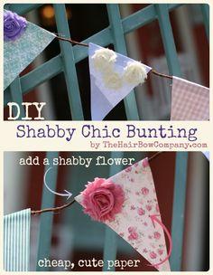DIY Shabby Chic Bunting | Get cute shabby flowers here!
