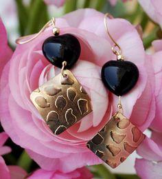Dangle earrings  heart by Yardenajewelry on Etsy, $40.00
