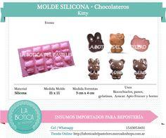 Categoría: Molde Silicona cake pop, tortas, muffins, chocolatero  Producto: molde silicona chocolatero  Modelo: Kitty Presentacion: 1 molde de 10 cavidades Importado