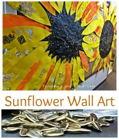 Sunflower Wall Art for Toddlers and Preschoolers is a fun fall activity! These make beautiful bulletin boards for the classroom. From Teaching 2 and 3 Year Olds
