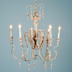 """Je T'aime Chandelier - 6 Light. $445, 25.5""""Dx26""""H I also really like this light fixture for your dining room- again, no sparkle, but nice shape and frenchy ;)"""