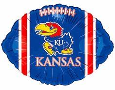 Kansas KU Jayhawks 18-inch Blue Football Shape Microfoil Mylar Balloon from TeamTailgateShop $3.50