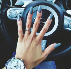 long almond nails, blue