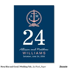 Navy Blue and Coral | Wedding Table Number Cards for a nautical theme wedding.