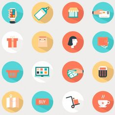 The flat design trend is super popular and can be seen on websites, apps and even illustrations! That is why we selected 25 flat design freebies for you! Flat Design Icons, Icon Design, Flat Icons, Shop Icon, Icon Set, Graphic Design Brochure, Shop Display Stands, Branding, Vector Free Download