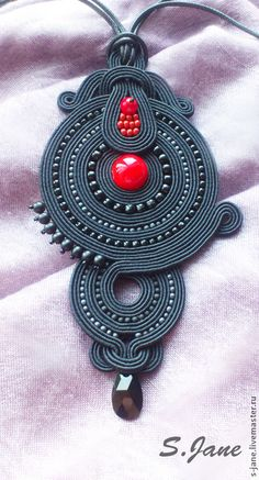 Continuing the Red and Black collection, the pendant contains Japanese beads, Czech crystal beads and a Swarovski pendant, a pressed coral is set in the center. Soutache Pendant, Swarovski Pendant, Soutache Necklace, Textile Jewelry, Boho Jewelry, Beaded Jewelry, Jewelry Accessories, Ribbon Jewelry, Shibori