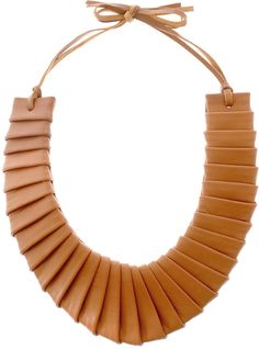 Asos Collection Asos Pleated Leather Collar Necklace in Brown (tan)