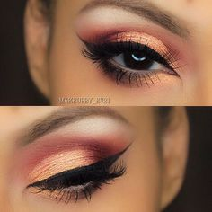 """Hi Everyone! So below are complete details on this look  Hope you all like it! ✨✨✨✨✨✨✨✨✨✨✨✨✨✨ 1. First primed my eyes with @benefitcosmetics air patrol eye primer 2. Next blended @makeupgeekcosmetics """"peach smoothie"""" in the crease as my transition color 3. Next blended @makeupaddictioncosmetics shadow in """"Flaming Kisses"""" in my crease from the Flaming Love Palette 4. Then from same palette I applied both """"Goldilocks"""" and """"Eden"""" on the lid 5. Lined my eyes with @motivescosmetics gel liner in…"""