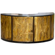 View this item and discover similar for sale at - An exceptional curved writing desk or console from the Bernard Rohne for Mastercraft case series, circa Unique acid-etched brass panels and detailing Antique Furniture, Modern Furniture, Curved Desk, Modern Desk, Vintage Desks, Console, Restoration, Southern Gothic, Furniture Storage