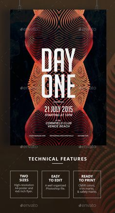 Day One — Photoshop PSD #minimal #nightclub • Available here → https://graphicriver.net/item/day-one/12207148?ref=pxcr
