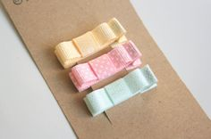 Baby Hair Clips Baby Hair Bows Clippies  Pastel Hair by StellinaB