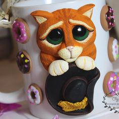 Clay Cup, Cup Art, Mug Cup, Clay Crafts, Mugs, Cold Porcelain Ornaments, Craft, Jars, Bottles
