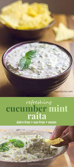 Cucumber Raita with Mint - Refreshing Dip - Vegan Recipe - Another! Mint Recipes, Spicy Recipes, Cooking Recipes, Recipes With Fresh Mint, Cucumber Dip, Cucumber Recipes, Vegan Indian Recipes, Vegetarian Recipes, Vegan Indian Food