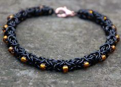 Unique Black Byzantine Chainmaille Bracelet with delicate seed beads.