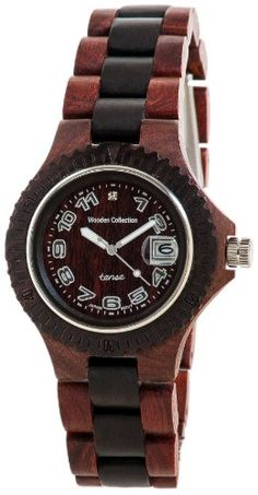 Tense Natural Two-Tone Wood Round Watch Ladies L4100SD-W ** Click on the image for additional details.