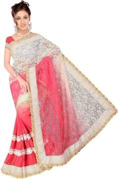 Ganga Silk Embriodered Fashion Net Sari - Buy Fuscia Pink, White Ganga Silk Embriodered Fashion Net Sari Online at Best Prices in India | Flipkart.com