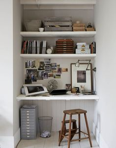 3 Wonderful Tips: Floating Shelves Office Fireplaces floating shelves next to tv tv shelf.Floating Shelf Brackets Home Office floating shelves fireplace stacked stones. Office Nook, Office Workspace, Desk Nook, Small Workspace, Closet Office, Desk Space, Computer Nook, Closet Desk, Boys Closet