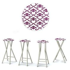 Best of Times Padded Pattern Outdoor Backless Bar Stools - Set of 4 Purple/White - 13169W2105-PW, Durable