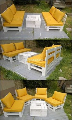 Creative Ways to Reuse Old Wooden Pallets You can make best at the superior use of the wood pallet when it comes to artfully use for the creation of the wood pallet outdoor furniture. Pallet Garden Furniture, Outdoor Furniture Plans, Rustic Furniture, Outdoor Sofa, Home Furniture, Furniture Design, Antique Furniture, Furniture Ideas, Modern Furniture