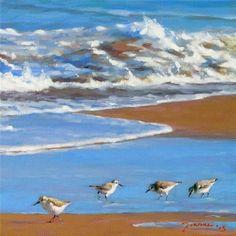 "Daily Paintworks - ""Beach Sanderlings"" - Original Fine Art for Sale - © Joanna Bingham:"