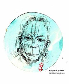 Monday, November 23, 2015   Daily drawings of Hanuman / Hanuman TODAY / Connecting with Hanuman through art / Artwork by Petr Budil [Pritam] www.hanuman.today