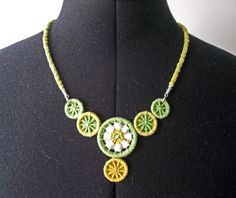 Dorset Button Necklace, Kumihimo Necklace, Braided and Woven, Unique Statement Necklace, Artisan Jewellery, Green Yellow White Bib Necklace