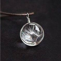 Real Dandelion Jewelry Crystal Glass Ball Dandelion Necklace Long Strip Leather Chain Pendant Necklaces For Women