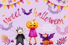 Sweet Halloween - Fall Watercolor by Watercolor Nomads on @creativemarket