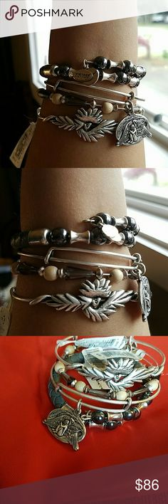 NWT Alex and Ani set of 4 Phoenix  wrap Guardian of healing Seeds of promise Rooted mystery wrap  ALL new with tags Alex & Ani Jewelry Bracelets