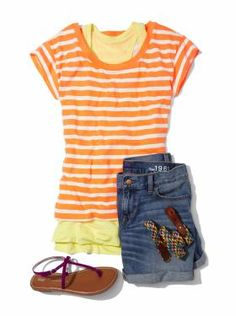 Summer Casual: Striped layered tee with boyfriend shorts and flats Summertime Outfits, Cute Summer Outfits, Summer Clothes, Cool Outfits, Casual Outfits, Gap Outfits Women, Clothes For Women, Cutoffs, Denim Shorts