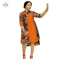 afrikanische frauen Online Shop 2017 Women Maxi Dress African Print Dresses for Women Three-Quter Sleeve Dress Women Print Clothing Plus Size BRW African Shirt Dress, African Fashion Designers, Latest African Fashion Dresses, African Print Dresses, African Dresses For Women, African Print Fashion, African Attire, African Women, Modern African Dresses