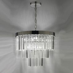 Chandelier with 3 tiers of embossed glass tags on a polished chrome frame
