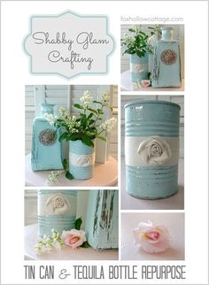 Homemade Shabby Chic Decor on a Budget | Tin Can & Tequila Bottle Repurpose by DIY Ready at http://diyready.com/diy-shabby-chic-decor/