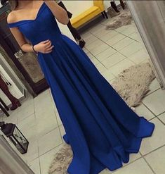 Simple Prom Dress,Stain Prom Dress,Off shoulder bridesmaid dress,long satin gowns,royal blue prom dress,royal blue evening gowns,prom dresses