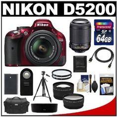 Nikon D5200 Digital SLR Camera & 18-55mm G VR DX AF-S Zoom Lens (Red) with 55-200mm VR Lens + 64GB Card + Battery + Case + Tripod + Tele/Wide Lenses + Remote + Accessory Kit - http://electmecameras.com/camera-photo-video/digital-cameras/digital-slr-camera-bundles/nikon-d5200-digital-slr-camera-1855mm-g-vr-dx-afs-zoom-lens-red-with-55200mm-vr-lens-64gb-card-battery-case-tripod-telewide-lenses-remote-accessory-kit-com/